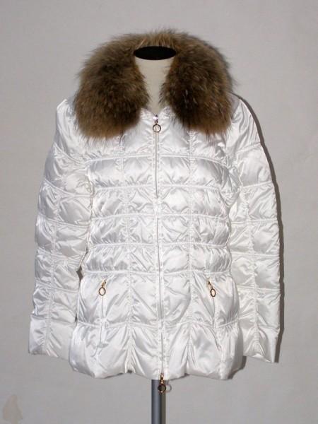 ad74c7a51d3 Dámská zimní péřová prošívaná bunda bílá 1006 Veltex 46