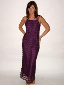 Fialové ramínkové krajkové dlouhé šaty 36, 38, 40