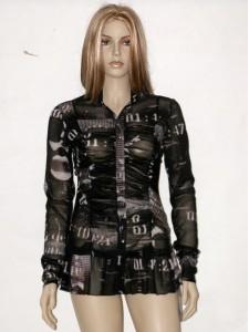 Černá vzorovaná halenka s dlouhým rukávem 1512 Andrea Martiny 42 65ca579b0c
