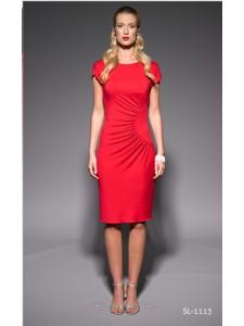 Červené letní šaty s krátkým rukávem 1113 Andrea Martiny 44 bedcece315