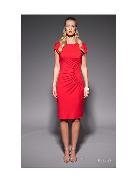 Červené letní šaty s krátkým rukávem 1113 Andrea Martiny 44 f485a606f6