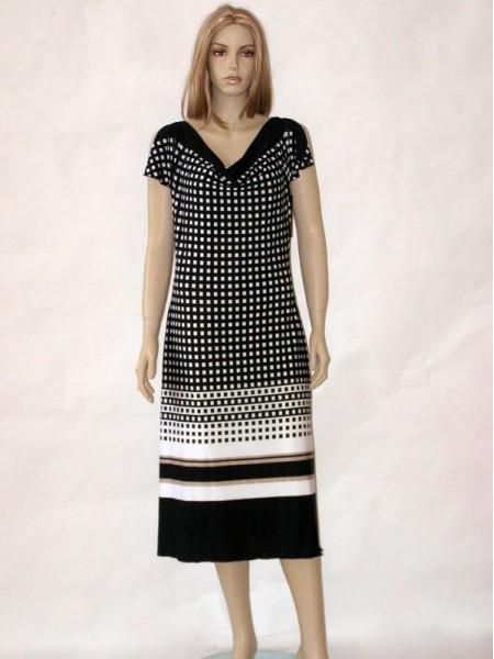140ee6534ba Bílo černé letní společenské šaty s krátkým rukávem 10813 Andrea Martiny 46