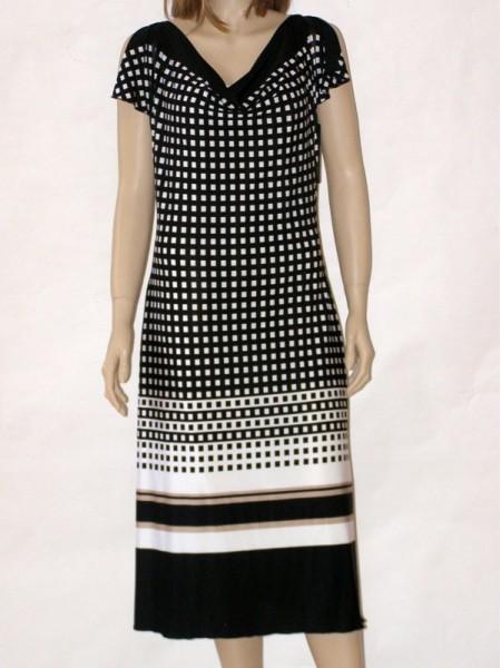 ... Bílo černé letní společenské šaty s krátkým rukávem 10813 Andrea Martiny  44 11c1fdb839