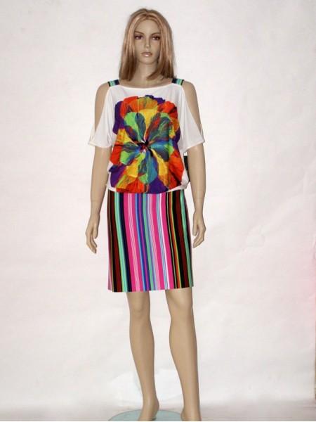 Pestré letní elegantní šaty 9813 Andrea Martiny 42 b2f10608a9