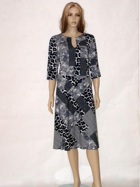 Šedé šaty s tříčtvrtečním rukávem 4613 Andrea Martiny 46 a18205d86d