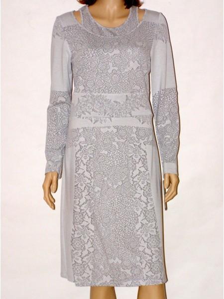 fd863ff00f4 Šedé úpletové šaty s dlouhým rukávem 5213 Andrea Martiny 42