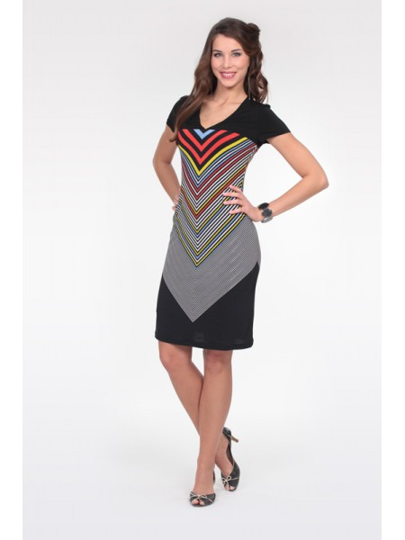 Letní proužkové šaty s krátkým rukávem 4514 Andrea Martiny 42 ace34d2fc3