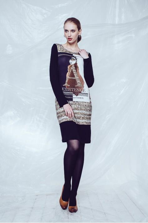 Elegantní viskózové šaty s dlouhým rukávem 3215 Andrea Martiny 38 754f44f26d
