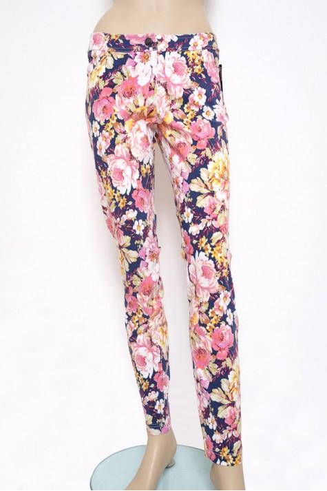 Květované bavlněné úzké kalhoty 0816 Andrea Martiny 38 82bd1ac0a8