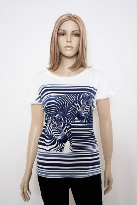 Smetanové tričko s modrým vzorem na předním díle 0816 Andrea Martiny. db1a539453