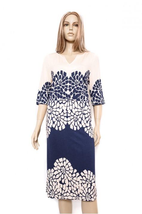 Béžovo modré šaty s tříčtvrtečními rukávy 2716 Andrea Martiny 46 7e8670bc99