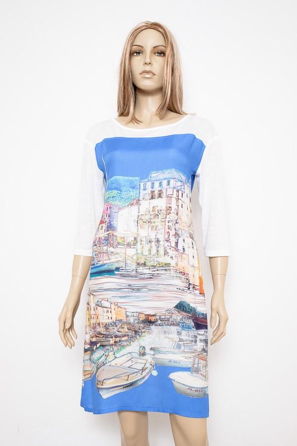 Letní elegantní šaty s tříčtvrtečním rukávem 4216 Andrea Martiny 36 5c9bd13407