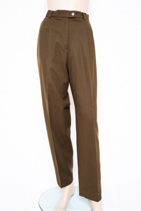 7e1398a7787 Khaki hnědé dámské kalhoty v panském stylu Heiky 44