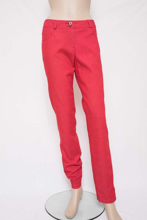 Červené elegantně sportovní úzké kalhoty 3313 Andrea Martiny 38 31fbd06920