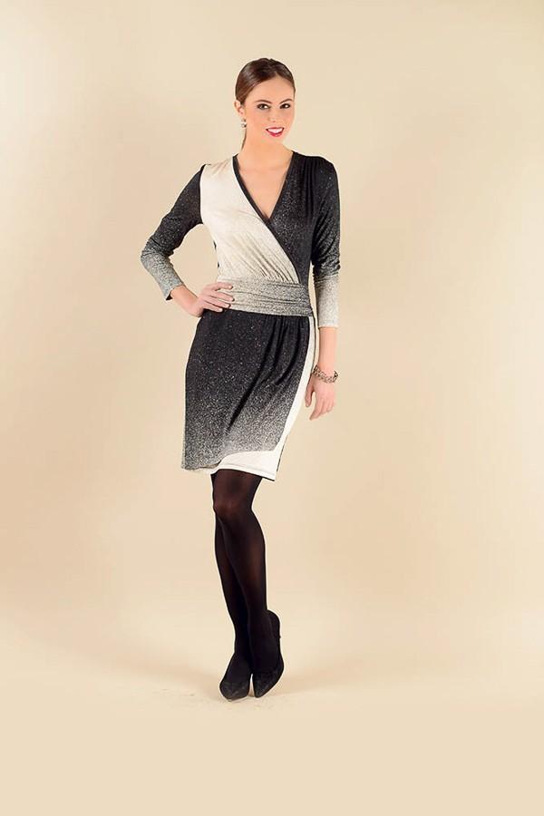 Antracitově černé šaty s dlouhým rukávem 0116 Andrea Martiny 40 922a1ef1d6
