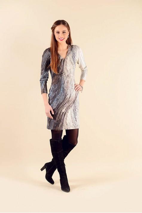 Šedo modré vzorované šaty s dlouhým rukávem 1016 Andrea Martiny 48 e679e3bfcf
