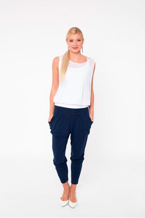 Moderní černé úzké kalhoty s řasením v pase 0717 Andrea Martiny 38 078bc31c2a
