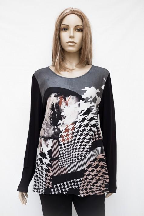 Černé vzorované tričko s dlouhým rukávem 4817 Andrea Martiny 48 0d335903c3