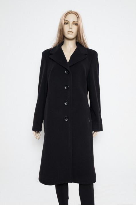 27ee33a3f1 Černý vypasovaný flaušový zimní kabát 0817 Andrea Martiny 50
