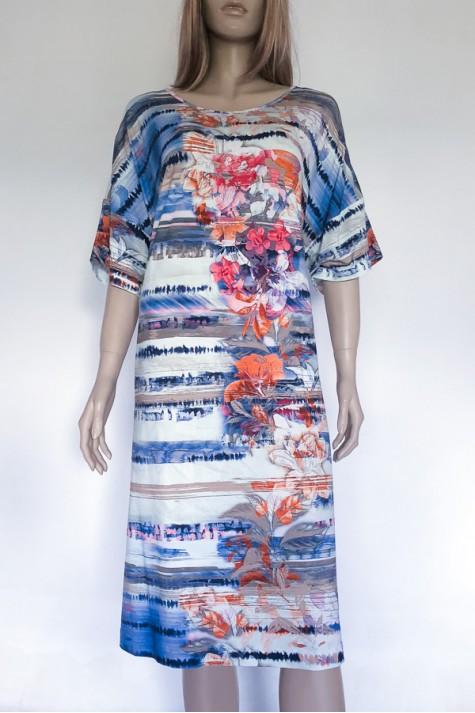 Modré vzorované šaty s krátkým rukávem 0318 Andrea Martiny 48 6f70beb31c