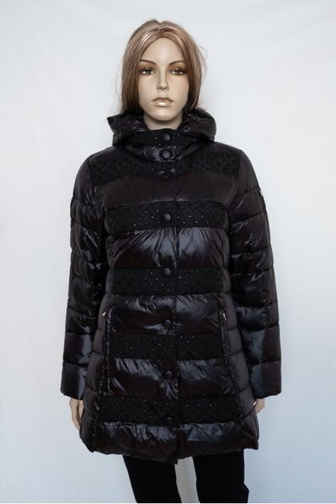 554c691b42 Černá prošívaná dlouhá bunda s kapucí 1630 Veltex 40