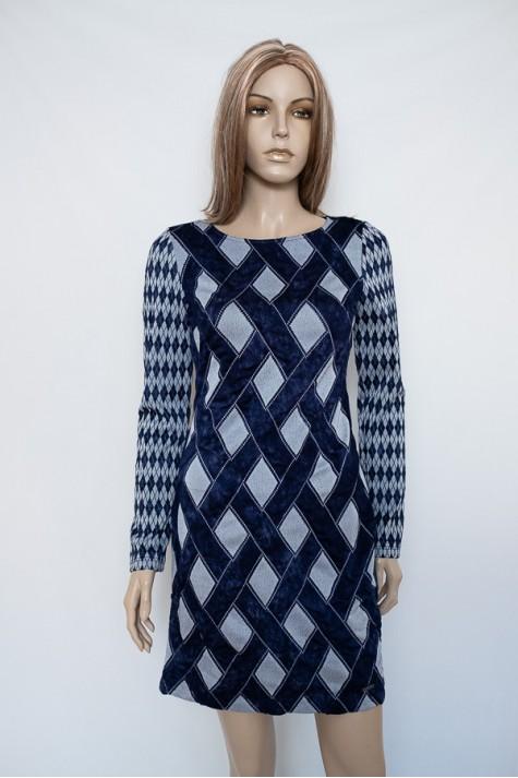 Modré vzorované úpletové šaty 4018 Andrea Martiny 36 8c4f318a0e