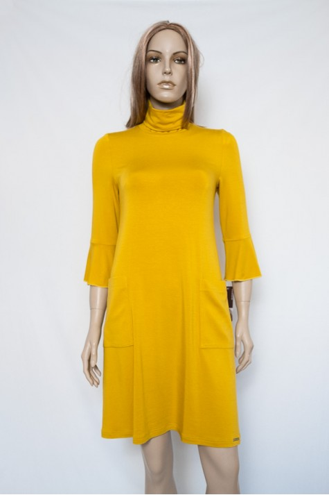 Žluté šaty s roláčkem 3718 Andrea Martiny 36 115549c75e