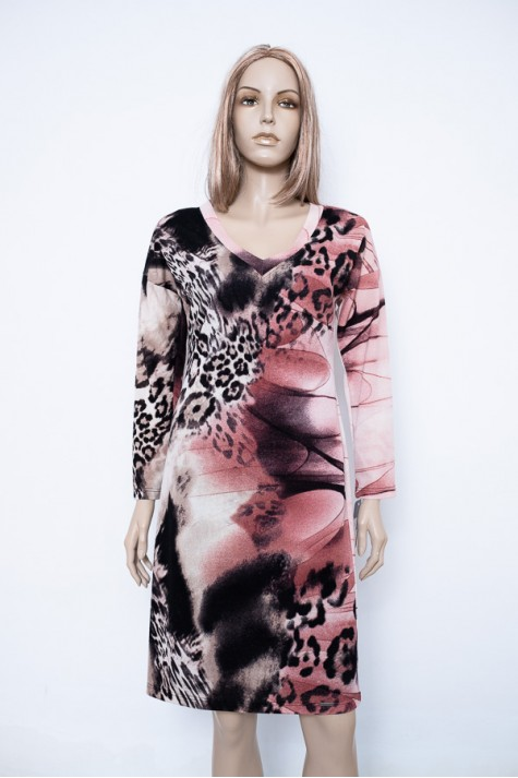 Růžové vzorované úpletové šaty s dlouhým rukávem 3918 Andrea Martiny 38 bc01cda595