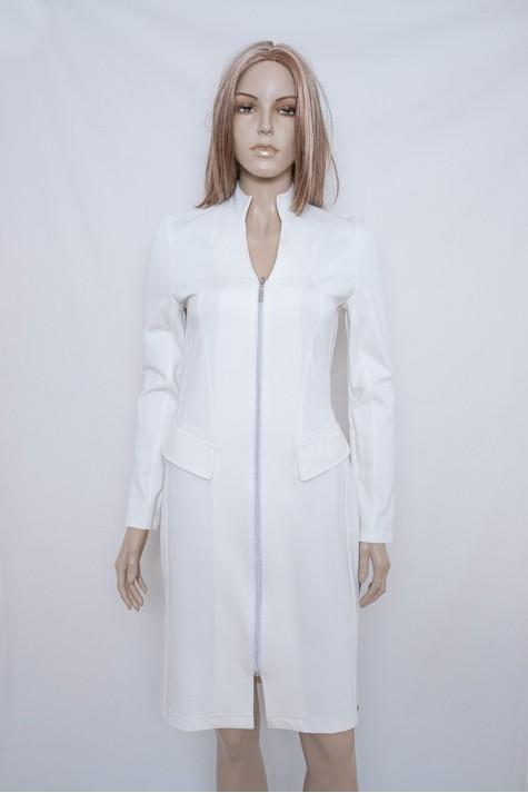 Smetanové pouzdrové šaty na zip 2018 Andrea Martiny 38 d28ff71b87
