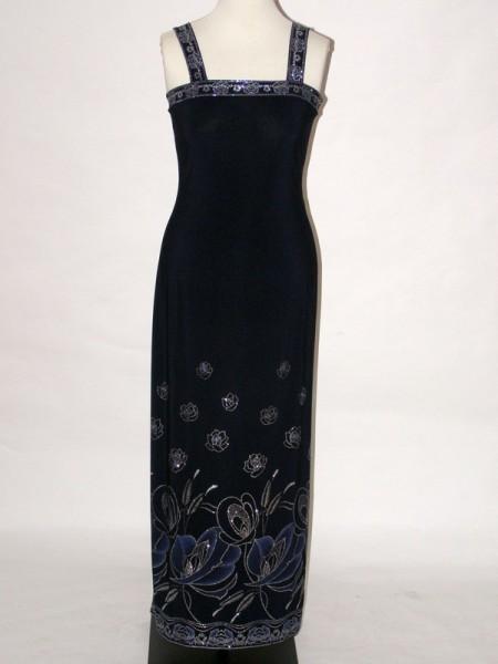5e486e2b7c7 Modré společenské dlouhé šaty na ramínka 8559 Sabatti 42