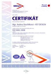 Certifikát Andrea Stuchlíková - AST DESIGN