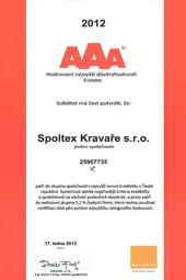 Certifikát Spoltex Kravaře s.r.o.