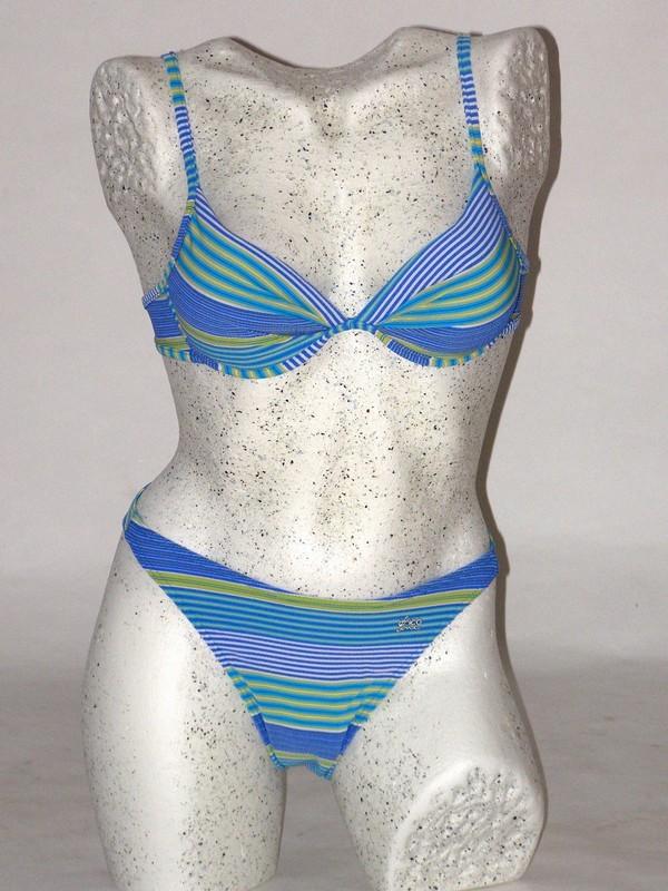 Dámské dvoudílné plavky push up modré 4103 Trico line S košíčky A