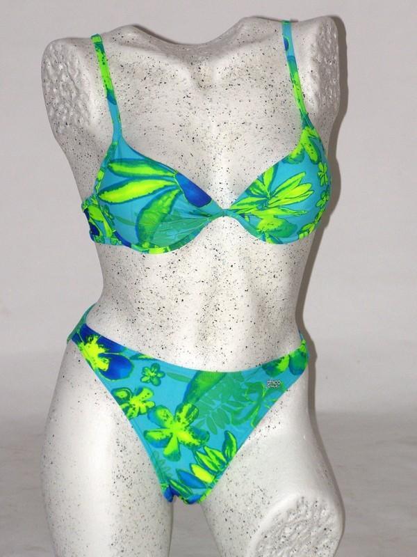 Dámské dvoudílné plavky push up zelené 4103 Trico line S košíčky A