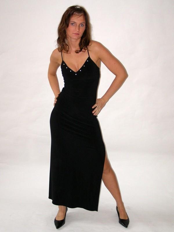 Dlouhé ramínkové černé elastické společenské šaty 36