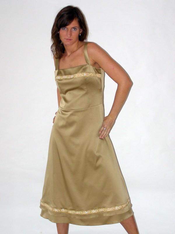 Zlaté saténové společenské šaty 0406 Andrea Martiny 38