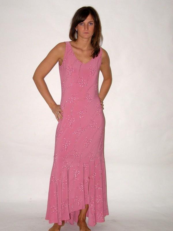 Růžové dlouhé společenské šaty 5718 Sabatti 38
