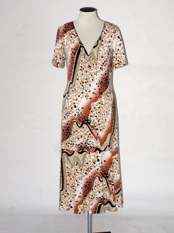 Dámské elastické viskózové šaty s krátkým rukávkem 9079 Sabatti 48