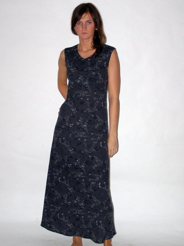 Šedé dlouhé elastické šaty bez rukávů 922208 Izabela 38
