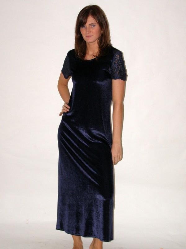 Modré sametové dlouhé společenské šaty 832601 Izabela 36, 38