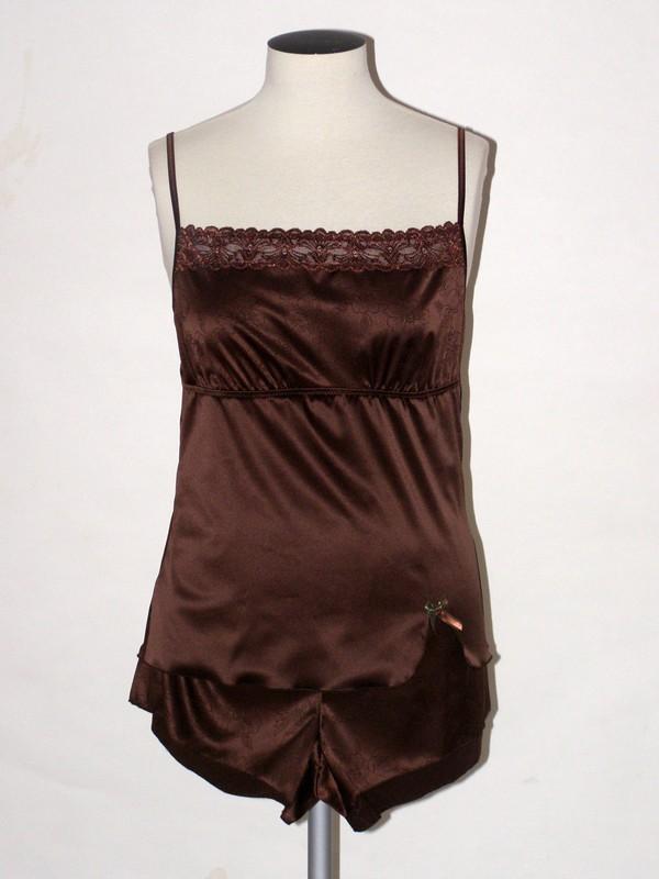Saténové dámské pyžamo 33608 Timo hnědé M, L, XL