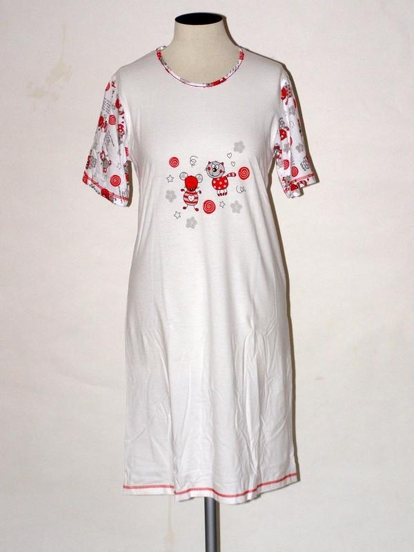 Noční dámská košile s krátkým rukávem 3099 Prako bílá s kočkou L