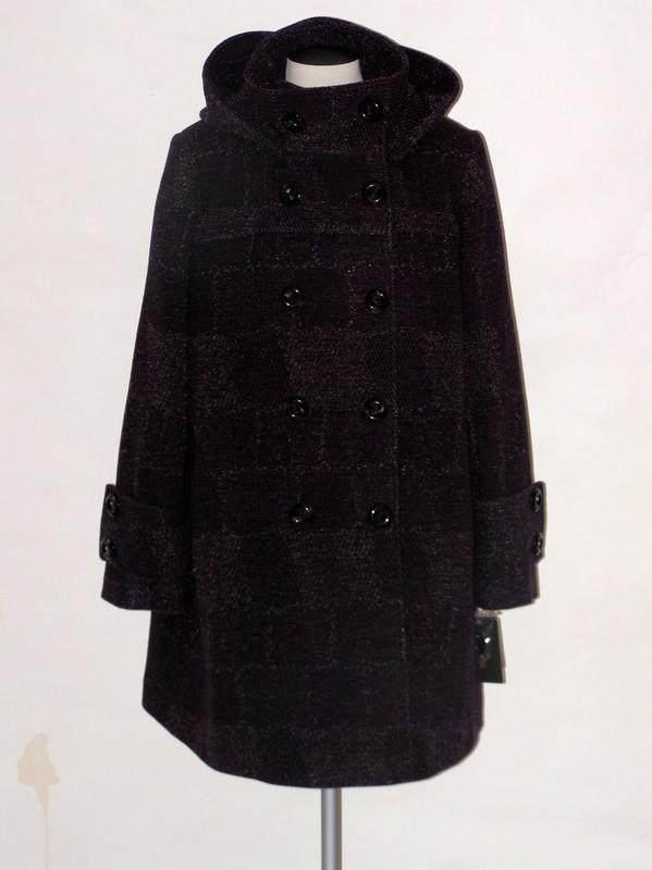 Dámský flaušový elegantní kabát s kapucí Donna 48
