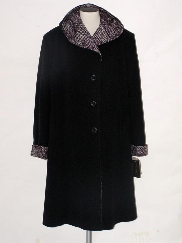 Dámský elegantní flaušový kabát s kapucí Pernila Veltex 50, 52