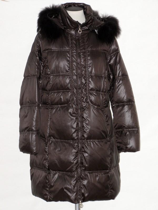 Dámský péřový elegantní kabát s kapucí 4030 Veltex hnědý 44, 46, 48