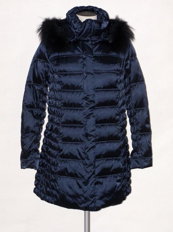 Dámský péřový prošívaný kabát s kapucí 4011 Veltex modrý 44