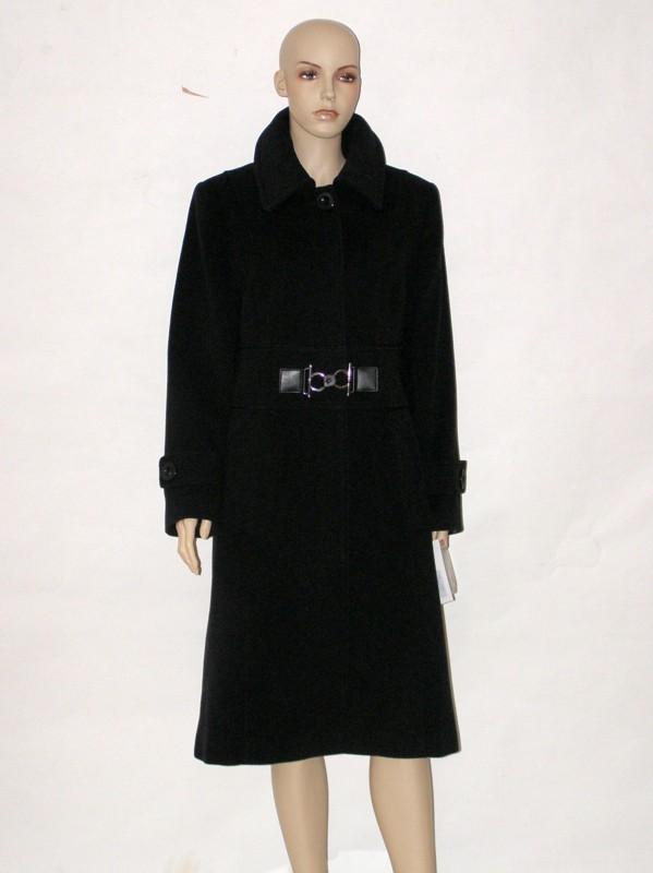 Antracitový flaušový vypasovaný kabát 0712 Andrea Martiny 42