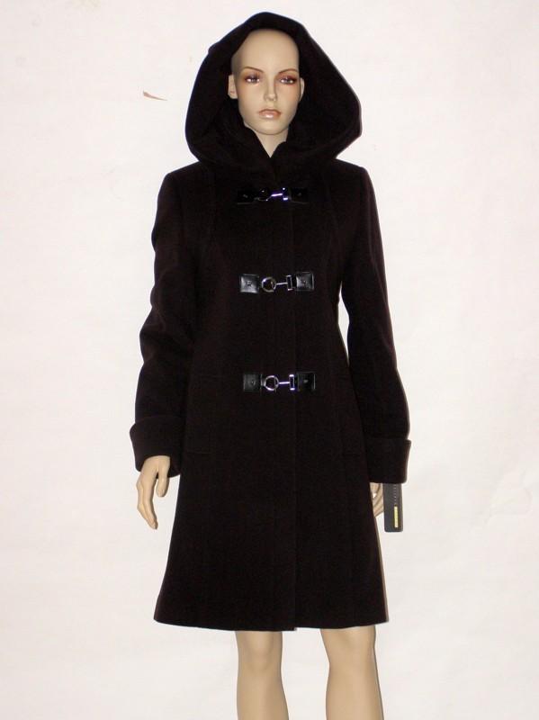 Fialovo hnědý vlněný flaušový kabát 0912 Andrea Martiny 38