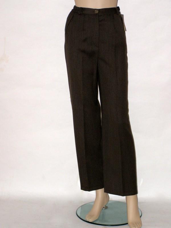 Hnědé kalhoty do pasu 8254 Izabela 36