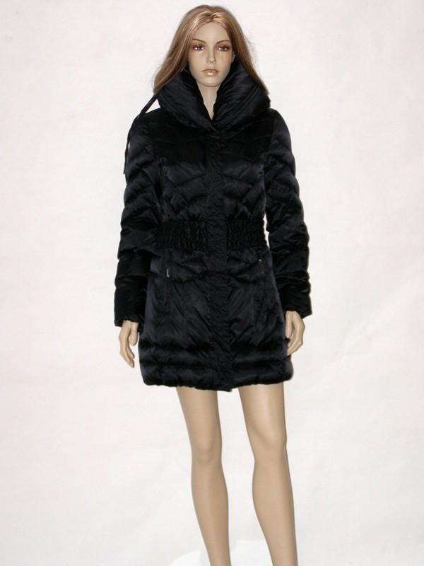 Černý péřový kabát s límcem CI6217 Veltex 36, 38, 42
